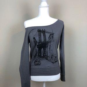Grey Off Shoulder Tourist Sweatshirt S